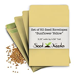 "Set of 50 ""Sunflower"" Self Sealing Seed Envelopes (Die 2b) 3.25"" x 4.50"""