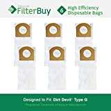 6 - FilterBuy Dirt Devil Type G Replacement Vacuum Bags, Part # 3010348001. Designed by FilterBuy to replace Dirt Devil Type G Vacuum Bags.