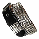 Four Row Black & Silver Pyramid Studded Belt X-Large