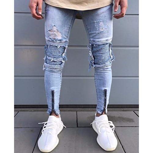 d27d558d52cdd Familizo Jeans Trou de Mode Hommes, Jeans Trou D'homme Homme Skinny Jeans  durable