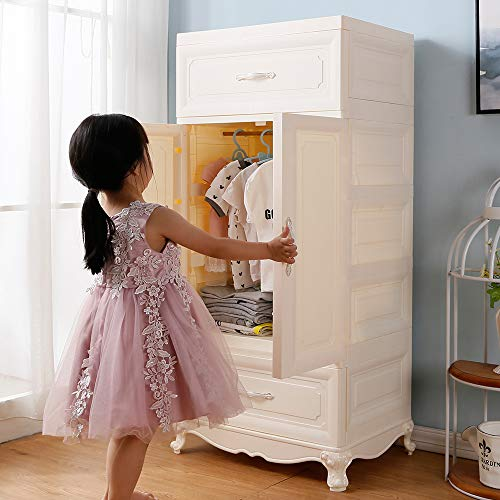 Nafenai Wood Pattern Portable Clothes Closet Office Cabinet Storage Cabinet Bedroom Kids Dresser Armoire 2 Door with 2 Drawers