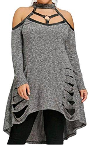 Bold Pure Openwork Halter Long Knitted Color Irregular Shoulder Off Neck Shoulder Plus Dresses Womens Hem Grey Size Alion Sleeves O5zqYOx