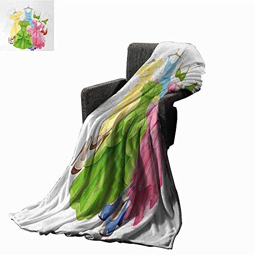 Tapesly Heels and Dresses Throw Blanket Princess Outfits Bikini Shoes Wardrobe Party Costumes in Girls Design,Super Soft and Comfortable,Suitable for Sofas,Chairs,beds