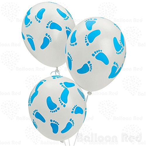 12 Inch Latex Balloons (Premium Helium Quality), Pack of 25, White with Blue Footprints (Cupcake Costume Pattern)