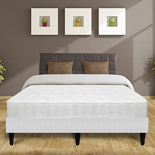 Best Price Mattress 8'' Top Coil Spring Mattress and Bi-Fold Box Spring with Legs Set, Twin by Best Price Mattress