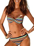 Elapsy Ladies Push-Up Padded Bikini Set with Triangle Bottoms Strapless Swimwear Multicoloured Size 22 24