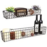 Cheap Set of 2 Brown Country Rustic Wall Mounted Openwork Metal Wire Storage Basket Shelves/Display Racks