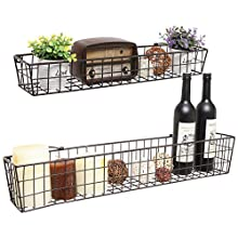 Set of 2 Brown Country Rustic Wall Mounted Openwork Metal Wire Storage Basket Shelves / Display Racks