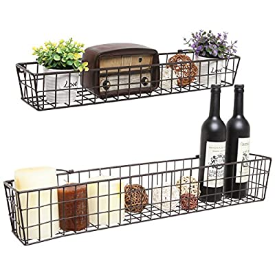 Set of 2 Brown Country Rustic Wall Mounted Openwork Metal Wire Storage Basket Shelves/Display Racks - Set of 2 wall-mounted basket shelves, each featuring a rustic-style openwork metal design. Each basket is a different size - one large, one small - to add visual interest and a variety of storage and display options to any space. Easy to attach to any wall using appropriate mounting hardware (not included) and the 2 metal top loops on each basket. - living-room-decor, living-room, baskets-storage - 51dswrTfrTL. SS400  -