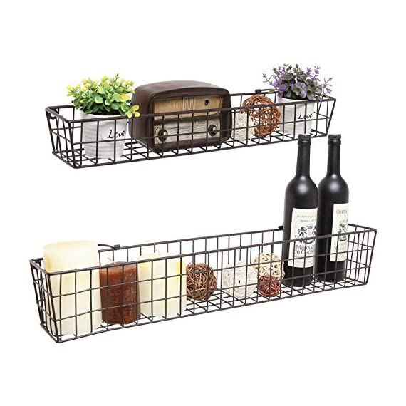 Set of 2 Brown Country Rustic Wall Mounted Openwork Metal Wire Storage Basket Shelves/Display Racks - Set of 2 wall-mounted basket shelves, each featuring a rustic-style openwork metal design. Each basket is a different size - one large, one small - to add visual interest and a variety of storage and display options to any space. Easy to attach to any wall using appropriate mounting hardware (not included) and the 2 metal top loops on each basket. - living-room-decor, living-room, baskets-storage - 51dswrTfrTL. SS570  -
