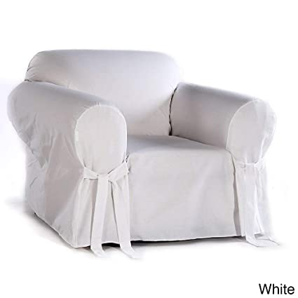 Amazon Com Classic Slipcovers Cotton Duck Chair Slipcover White