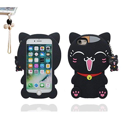 """iPhone 7 Coque (4.7""""), [ TPU Material Flexible 3D chat Sweet ] élégant Étui pour iPhone 7 (4.7""""), Dust Slip Scratch Resistant, Case souple & Bouchon anti-poussière"""