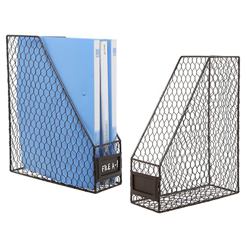 Set of 2 Rustic Brown Metal Chicken Wire Document Magazine Organizer Rack with Label Holder