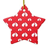 Christmas Ornaments Holiday Tree Ornament Scarlet Red White Chevron Boxer Boxing Gloves Both Sides Star Ceramic Ornament Crafts Christmas Gifts