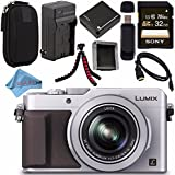 Panasonic Lumix DMC-LX100 DMC-LX100S Digital Camera (Silver) + DMW-BLG10 Lithium Ion Battery + Charger + Sony 32GB SDHC Card + Case + Tripod + HDMI Cable + Memory Card Wallet + Fibercloth Bundle