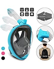 UKON Diving Mask, Snorkeling Mask Full Face 180° View Panoramic Design, Anti-Fogging Anti-Leak with Adjustable Straps with Tube for Longer Snorkeling for Women Child Adult