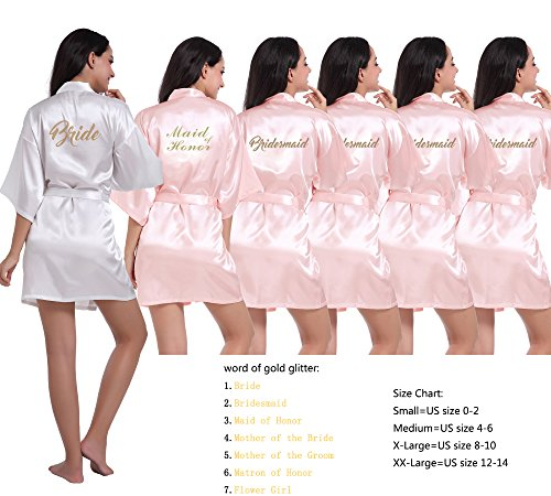 DF-deals Set of 3-12 Women's Kimono Robes with Gold Glitter for Bridesmaid and Bride,Wedding Party Getting Ready Short Robe]()