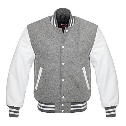 Pour homme Varsity Cuir véritable laine Letterman Veste Gris W cuir Blanc  manches ( 29b81fd70b52