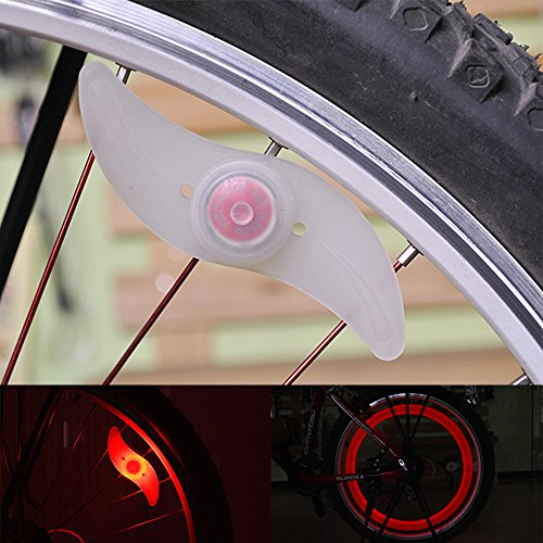 Bike Spoke Light Cycling Spokelit Bicycle Decoration (Total 6pcs, Green 2pcs Red 2pcs Blue 2pcs)