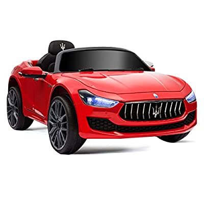 HONEY JOY Ride on Car, Licensed Maserati Gbili 12V Battery Powered Electric Car for Kids with 2 Motors, Remote Control, LED Lights, MP3, Horn, Music, Wheel Suspension, 2 Lockable Doors (Red): Toys & Games