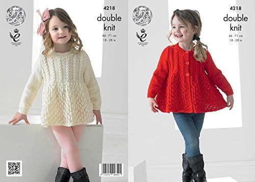 King Cole 4218 Knitting Pattern Girls Lace Cardigan and Sweater to knit in King Cole Big Value DK by King Cole by King Cole