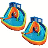 BANZAI Sidewinder Falls Inflatable Water Park Kiddie Pool with Slides & Cannons (2 Pack)