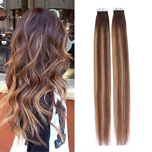 BeautyMiss 16″ 40Pcs/100g Straight Remy Hair PU Hair Two Tone #4 Dark Brown and #27 Honey Blonde with #4 Balayage Highlights Seamless Tape in Hair Extensions Colorful Ombre Hair Tape in Hair Review