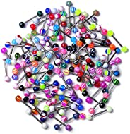 dake 14G Tongue Rings,110 Pack Stainless Steel Barbell Tongue Piercing Ring Retainer Belly Navel Bars Rings fo