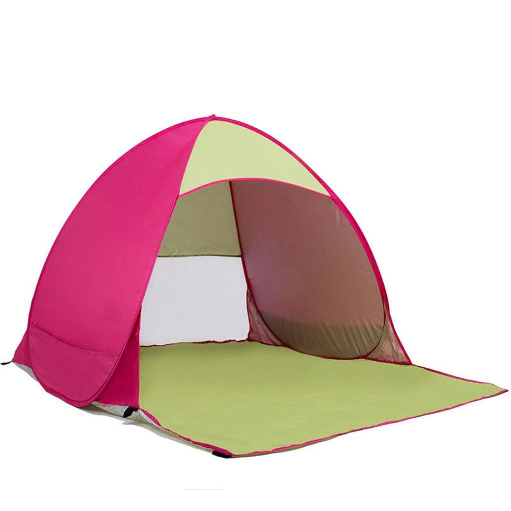 屋外テント自動ビーチオープンサンアウェイダブルテント、防水フリー構造(サイズ:145 * 165 * 110センチメートル)  Pink B07CR5D7DX