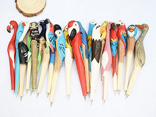 Creative Novelty Pens Handmade Pen Natural Ballpoint Pen Cute Wood Carved Animal Pens School Office Supplies Gift Pen 2Pcs Random Style