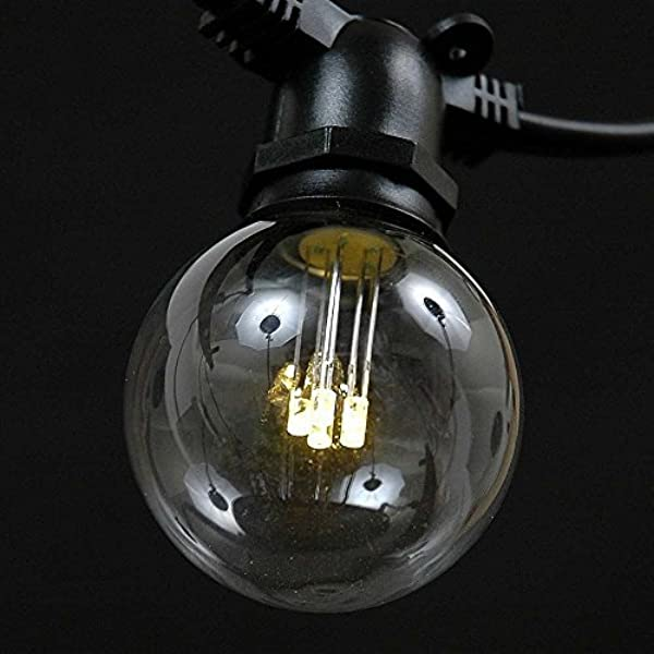 Novelty Lights 25 Pack Led G50 Outdoor Patio Globe Replacement Bulbs Warm White E17 C9 Base 1 Watt Led Household Light Bulbs Amazon Com