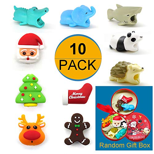 Cable Bites, 10Packs Cord Cable Animal Bites Protectors with Gift Box Compatible with iPhone Android (Elephant, Crocodile, Shark, Panda, Hedgehog, Santa, Sock, Christmas Tree, Reindeer, Gingerbread)