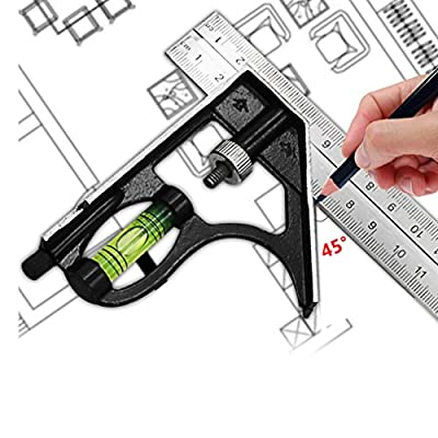 Bubble Level,Beginner Sets 300mm Adjustable Engineers Combination Try Square Set Right Angle Ruler Bubble Level