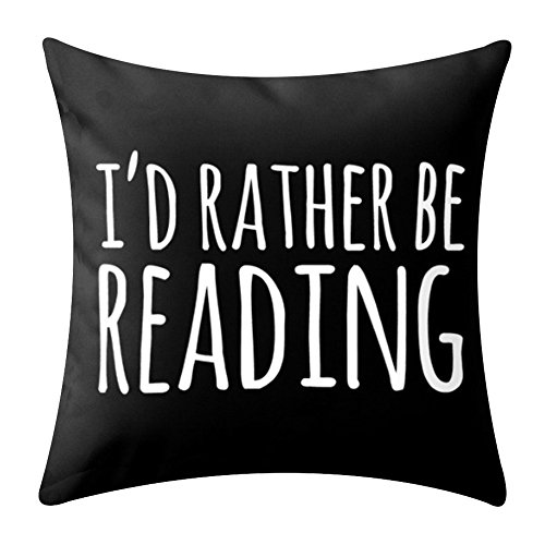 KACOPOL Inspirational Quote Books & Coffee Throw Pillow Covers Super Soft Home Decor Pillow Case Cushion Cover Words Book Lover Worm 18x18 Inches (I'd Rather BE Reading) ()