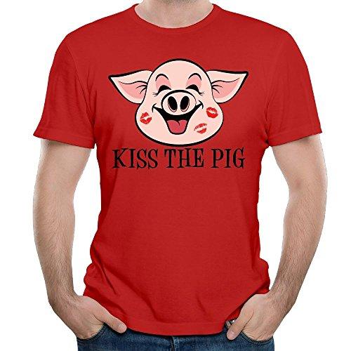 Kiss The Pig Men White Short Sleeve Outdoor T-Shirt T Shirt Shirt For Men Kiss Pig