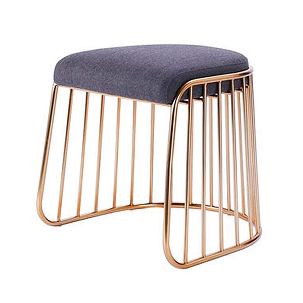Step Dressing Stool, Makeup Stool Living Room Coffee Table Stool Creative Table Stool shoes Bench Wrought Iron Leisure Stool (color   Champagne gold, Size   45  49cm)