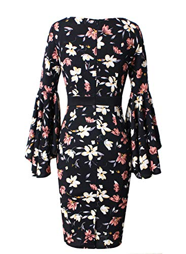 VFSHOW Black Sleeves Bell Business Cocktail Floral Dress Womens Sheath Party 1 Multi Print Ruffle BawAqRa