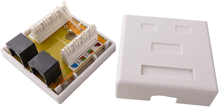 BeMatik - Caja de superficie de 2 RJ45 Cat.6 UTP: Amazon.es ...
