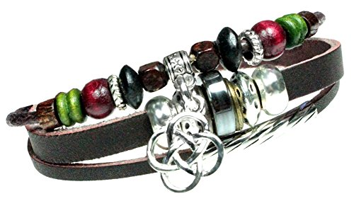 Bracelet Irish Beaded (Durango Beaded Leather Zen Bracelet, Adjustable Wristband, in Gift Box)