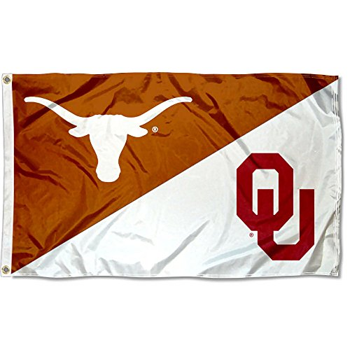 College Flags and Banners Co. Texas vs. Oklahoma House Divided 3x5 Flag