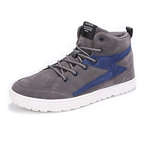 with paypal free shipping wide range of Easy Go Shopping Casual Men's High Top Fashion Sneaker Comfortable PU Leather Lace up Flat Sport Shoes Cricket Shoes Dark Gray outlet visit new v50OgBN