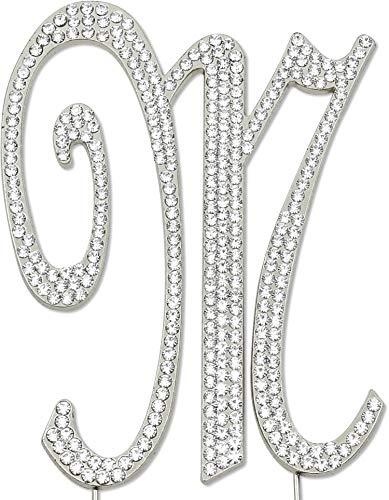 Swarovski Crystal Monogram Cake Toppers - Sparkly Rhinestones Letter M Cake Topper, Birthday Wedding Anniversary Silver Initial M