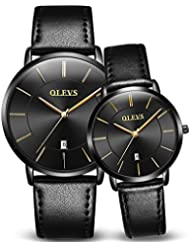 OLEVS 2pcs Couple Quartz Automatic Waterproof UltraThin Genuine Leather Band Wristwatches Set for His and Her,...
