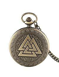 Vintage Triangle Valknut Norse Vikings Bronze Quartz Pocket Watch Necklace Chain Three Interlocking Fob Watch Xmas Gift