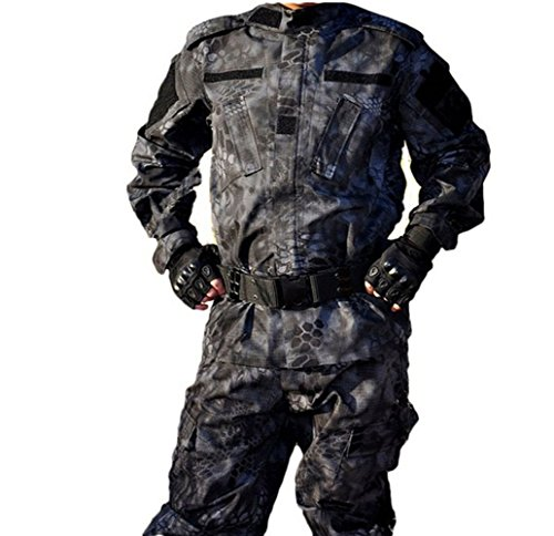 OSdream Outdoor Black Python Pattern Tactical Suit, Battle Strike Uniform Suit, Camping Hiking Hunting Paintball