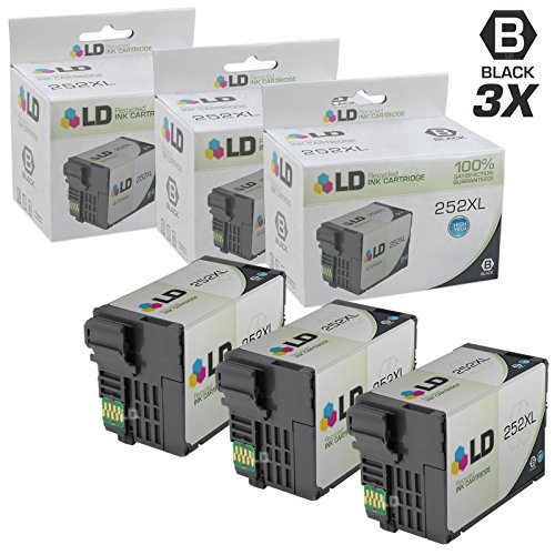 LD Remanufactured Replacements for T252XL120 T252 XL Set of 3 High Yield Black Ink Cartridges for use in Workforce WF 3620, 3640, 7110, 7610, and 7620 Printers by LD Products