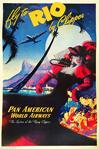 Fly Rio de Janeiro Brazil South America Vintage Travel Advertisement Art Poster
