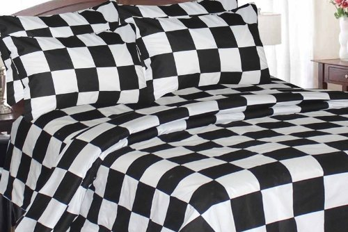Amazoncom Checkered Flag Microfiber Sheet Set Queen Home Kitchen