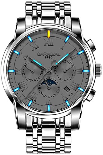 CARNIVAL Men's Luminous Tritium Watch Automatic Mechanical Outdoor Military Solid Stainless Steel Watch (Silver/White dial with Blue Light)