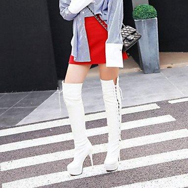 Mujer Muslo Otoño Office EU36 CN36 amp;Amp; Invierno US6 Moda Pu Para UK4 Confort Up Carrera Toe De Botas RTRY Señaló Botas Botas Lace Talón Stiletto Zapatos Alta Novedad EwZA1Yq